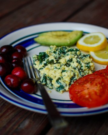 Cheesy Lemon Spinach Eggs